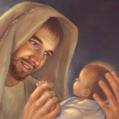 Smiling Joseph & baby Jesus - His love for Jesus is smiling brightly through…