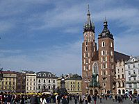 St Mary church in Krakow, Poland Krakow's basilica of the Virgin Mary  The basilica of the Virgin Mary's (or Kosciol Mariacki) at Krakow's centralGrand Squarehas been traditionally the temple of choice of the city's burghers. It also seems to be the most famous of all Poland's churches.