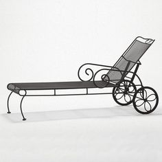 Wrought Iron Chaise Lounge w Reclining Back in Custom Finish - Cantebury (Khaki) Metal Patio Chairs, Patio Rocking Chairs, Custom Cushions, Bench Cushions, Patio Chaise Lounge, Chaise Lounges, Patio Glider, Indoor Outdoor, Outdoor Decor