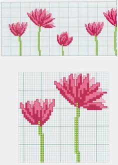 Pink Flower Motif (part 1) free cross stitch pattern from www.coatscrafts.pl