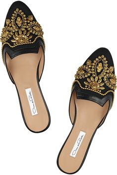 Oscar de la Renta|Spanish Mule embellished linen and leather slippers|love these easy slip on and go shoes