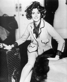 Suzy Parker wearing Channel - photo by Henry Clarke 1960  Louis Vuitton Trunk