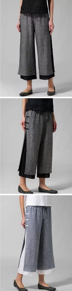 Drawstring Waist Layered Wide Leg Pants Pants For Women, Clothes For Women, Sewing Alterations, Creation Couture, Drawstring Waist, Wide Leg Pants, Mode Style, Textiles, Playing Dress Up