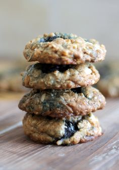Coconut oatmeal cookies bursting with blueberries and melted white chocolate. Made with coconut oil for double coconut flavor!