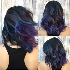 Cute Hair Color For Short Hair dark hair styles Best Hair Color Ideas for Short Hair 2018 Cute Hair Colors, Cool Hair Color, Oil Slick Hair Color, Dark Hair With Color, Peekaboo Hair Colors, Winter Hair Colors, Subtle Purple Hair, Purple Peekaboo Highlights, Colorful Highlights In Brown Hair