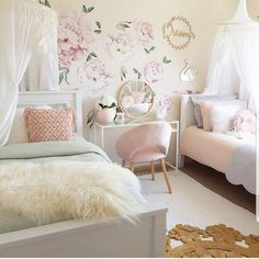Best Shared Girls Bedroom – Modern Home Twin Girl Bedrooms, Sister Bedroom, Shared Bedrooms, Little Girl Rooms, Girls Bedroom, Bedroom Decor, Twin Room, Girls Room Accessories, Home Interior