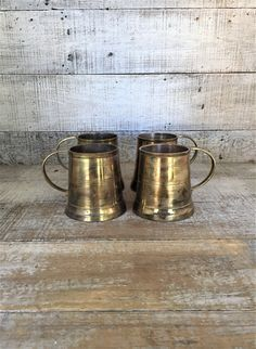 Brass Mugs 4 Brass Tankards Brass Beer Mugs Brass Drinking Glasses Brass Cups Brass Barware Mid Century Barware Ale Mugs by TheDustyOldShack on Etsy