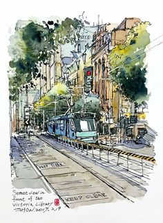 Image result for urban sketch street and park