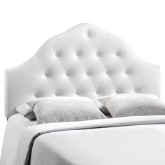 """- Elegant modern headboard - Fits queen size beds - Tufted high arch - Deep inset buttons - Padded with foam - Fine polyester upholstering Overall Product Dimensions: 4""""L x 61.5""""W x 57 - 64.5""""H Floor"""