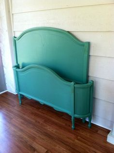 Vintage Bedframe Painted Teal by LynorByJessica on Etsy, $350.00