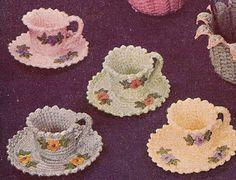 Vintage Crochet PATTERN Teacups Nut Cups Candy Dish Teacups