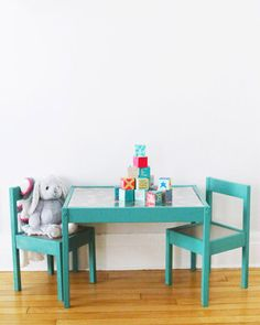 Get the details on this kids table makeover Ikea Latt hack featuring Valspar Furniture Paint at The Sweetest Occasion - perfect for a nursery or playroom!
