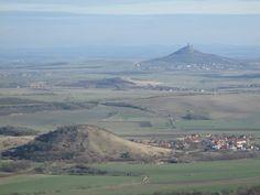 Hill is Syslík front, rear Hazmburk - České středohoří, Northern Bohemia