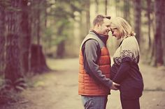 Outdoor Autumn Winter Couple Maternity Pregnancy Photography.