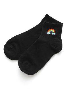 Shop Rainbow Embroidery Ankle Socks at ROMWE, discover more fashion styles online. Funny Socks, Cute Socks, Lady Stockings, Happy Socks, Fashion Socks, Ankle Socks, Sock Shoes, Layering Outfits, Aesthetic Clothes