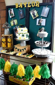 Cool dessert table at a Baylor University graduation party!