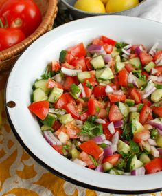 Add this simple Israeli Salad to your meals using healthy ingredients. This Mediterranean inspired salad uses cucumber, tomatoes, red onion and fresh herbs. Salad Dressing Container, Salad Dressing Recipes, Salad Dressings, Healthy Salad Recipes, Healthy Food, Healthy Chicken, Veggie Recipes, Healthy Meals, Delicious Recipes