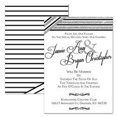 Faux Glitter Striped Wedding Invitation  Custom by DfinitiveDesign, $22.00