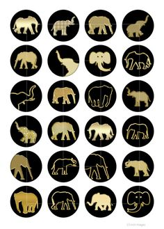 Or éléphants ronde Images imprimables pour les pendentifs, bouteille caps, Scrapbooking, Cabochons, Planner stickers.  ■ des Images rondes de 20 mm, 1 pouce, 1,25 et 1,5 pouces chaque taille sur une feuille de collage numérique séparée (4 feuilles au total).  Taille de feuille de