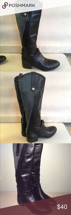 Sam  Edelman riding boot Gorgeous black riding boot by Sam Edelman. Very soft leather. Boot is two toned with grey in the back. Awesome boot. Slight wear. Sam Edelman Shoes Heeled Boots