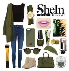 """""""SheIn Green Army Coat"""" by trendy-and-chic ❤ liked on Polyvore featuring Bally, Tom Ford, Native Union, Tory Burch, Fiebiger, OPI, By Terry, Adrienne Vittadini, Urban Decay and Guerlain"""