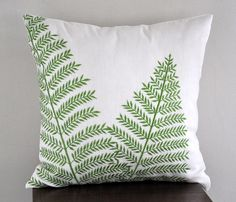 Fern Pillow Cover Cream Linen Green Leaf Embroidery by KainKain