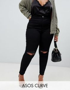 ASOS DESIGN Curve Rivington high waisted jeggings with frayed knee rip  detail Asos Curve 7f44f38ae40c6