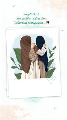 Best Friends Shoot, Hijab Drawing, Watercolor Quote, Cute Girl Drawing, Diy Coasters, Best Friends Forever, Anime Art Girl, Beautiful Words, Muslim