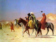 Jean-Leon Gerome(1824-1904)-ORİENTALİSM-(Arabs Crossing the Desert_1870)Oil on canvas.