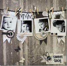 Sweet Face scrapbook layout by ScrapGoo Kids Scrapbook, Wedding Scrapbook, Scrapbook Paper Crafts, Scrapbook Cards, Scrapbooking Ideas, Scrapbook Photos, Scrapbook Sketches, Scrapbook Page Layouts, Country Boutique