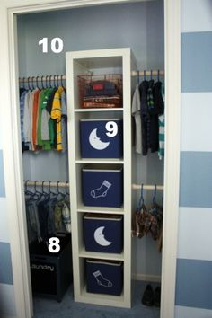 Super easy organization for kids closets.  Would do two sets of shelves for each room.