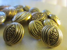 Vintage Buttons  Lot of 14 matching antique gold by pillowtalkswf, $5.75