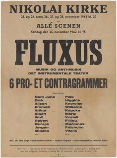 Poster for Fluxus Musik og Anti-Musik Det Instrumentale Teater, Nikolai Kirke, Copenhagen, Denmark, November 23-24; 26-28, 1962. 1962
