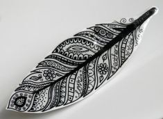 FEATHER Wearable Art Shrink-Plastic Brooch - Black and White