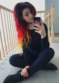 pain is only a pulse Cute Hair Colors, Hair Dye Colors, Cool Hair Color, Gothic Hairstyles, Pretty Hairstyles, Half And Half Hair, Fire Hair, Rainbow Hair, Crazy Hair