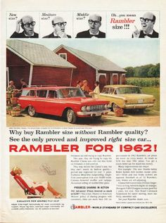 """1962 RAMBLER vintage magazine advertisement """"New size"""" ~ (model year 1962) ~ New size? Medium size? Middle size? Oh ... you mean Rambler size!!! - 1962 Rambler Classic, the all-purpose compact for six 6-footers -- 2-Door Sedan is brand-new this year ..."""