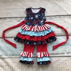 new arrival summer baby girls suit kids boutique clothes ruffles capri sets striped Starry sky print belt cotton sleeveless