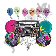 11pc I Totally Love 80's Balloon Bouquet Happy Birthday Neon Party Theme Boombox