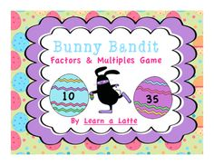 This Easter themed memory game with a twist is a fun way for students to practice factors and multiples. Cards are spread out and placed face down. Students spin a factor and flip over an egg card. If the number on the egg is a multiple of the factor they spun, they keep the card and put it in their basket.