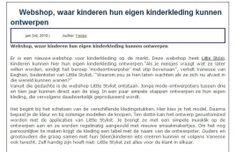 www.littlestylist.com: de webshop voor de allerjongste modeontwerpster in Allesoverkinderkleding.nl.  Meisjeskleding: customize hier je eigen jurk, tuniek of schooltas.
