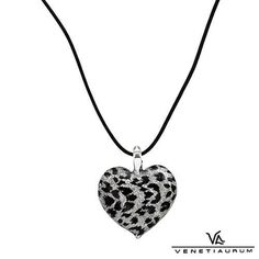 Murano Glass Heart Pendant & Black Leather Necklace
