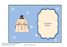 Insert for Christmas snowman card cup741890 2306 on Craftsuprint - View Now!