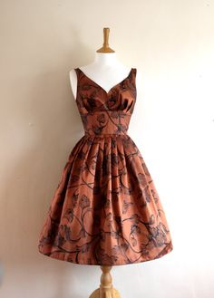 Copper Taffeta Turkish Print Prom Dress  Made to by digforvictory, £115.00