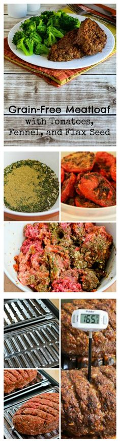 This Grain Free Meatloaf with Tomatoes, Fennel, and Flax Seeds is low-carb and gluten-free, as well as being SBD friendly for phase one.  The meatloaf has beef, turkey Italian sausage, roasted (or canned) tomatoes, dried spices and seasonings, eggs, and flax seed meal as a binder.  [from KalynsKitchen.com]
