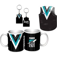 Port Adelaide Power Guernsey Giftpack,  This Great Pack Features Guernsey Design Mug, Keyring, & Stubby Cooler.  To see the full range of AFL merch, visit www.shop.afl.com.au