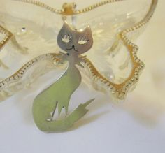 Vintage Taxco Sterling Silver Kitty Cat Pin or by Sisters2Vintage
