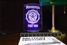 American Legion, VFW, JWV, Rotary,and Custom Community Service Lights Police Gifts, American Legions, Suffolk County, Color Changing Lights, Badge Design, Desk Light, Community Service, Rotary, Fundraising