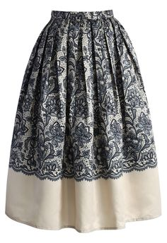 Lace Two Tone Midi Skirt