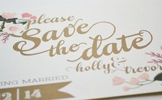 Sets of 25=  $550 for 125 Custom+Gold+and+Blush+Save+the+Date+Postcards+by+firstsnowfall,+$110.00