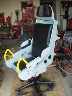 B-66 Ejection seat converted to an office chair.
